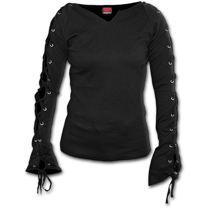 Ladies' T-shirt with Lacing Black