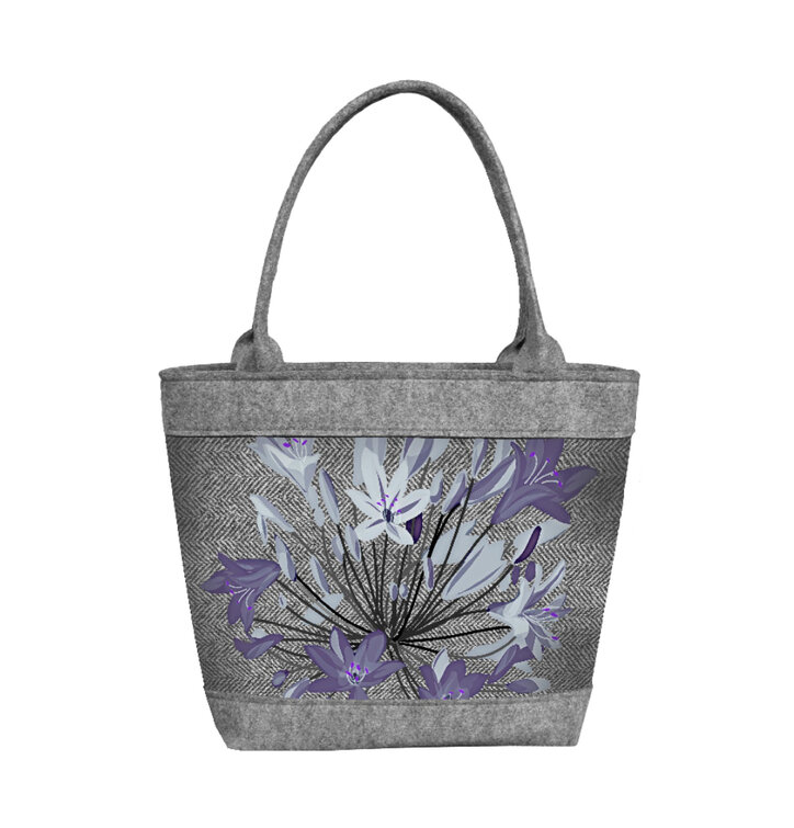 Ladiesu0026#39; Felt Polo Handbag White And Blue Flowers | Dedoles