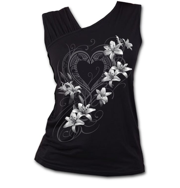Ladies tank top with frilled shoulders and design white flowers ladies tank top with frilled shoulders and design white flowers mightylinksfo