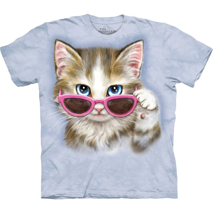 T-shirt with Short Sleeve Cat with Glasses
