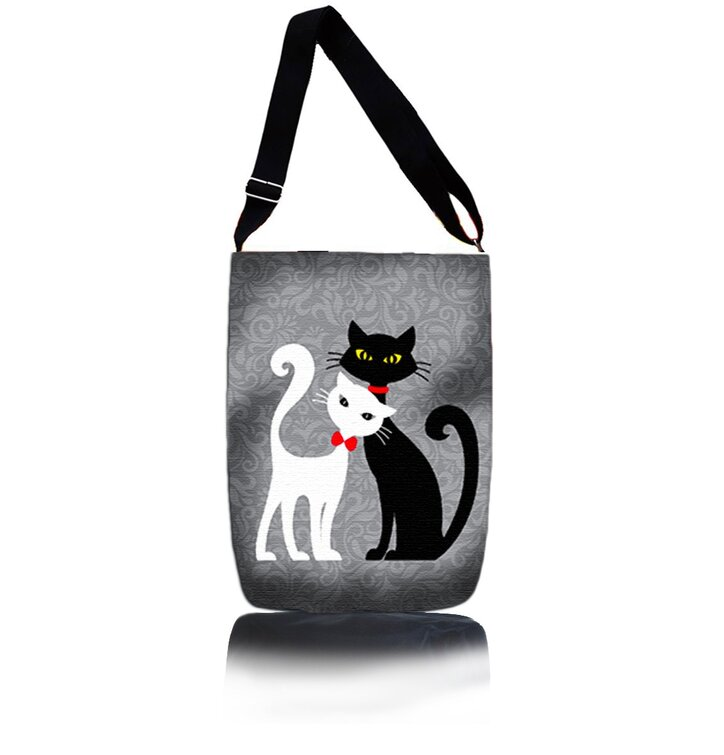 Easy Cross Shoulder Bag - Black and White Cat