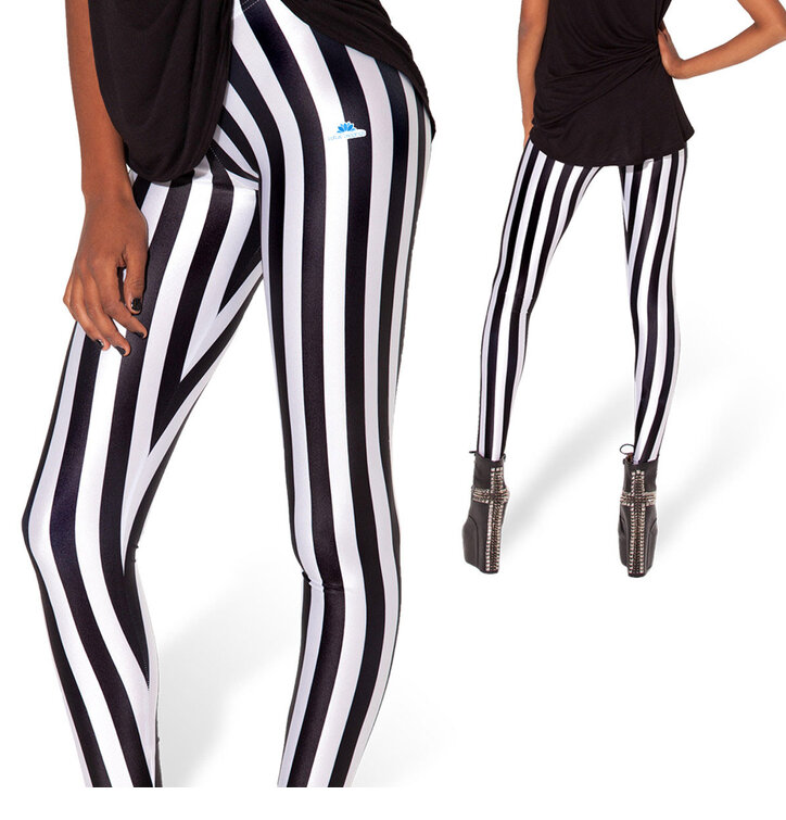 Ladies' Elastic Striped Leggings