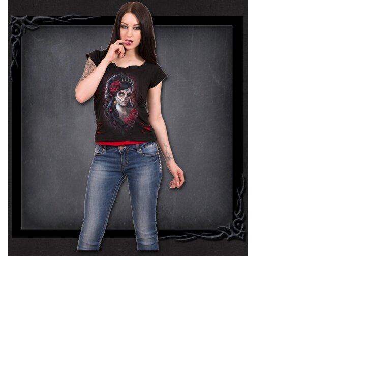 213343290b Ladies  2in1 T-shirt Queen of Death