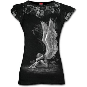 Ladies' T-shirt with Lace Angel's Wings