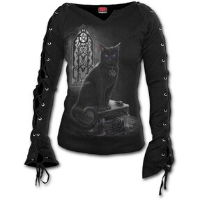 Ladies' T-shirt with Lacing Witch Cat