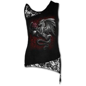 Ladies' Tank Top with Lace Straps and Design Dragon with Rose