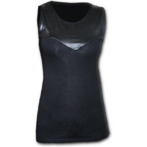 Ladies' Black T-shirt Artificial Leather