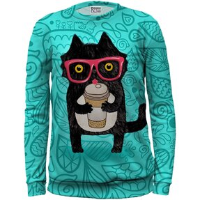 Kids' Sweatshirt Cat with Coffee
