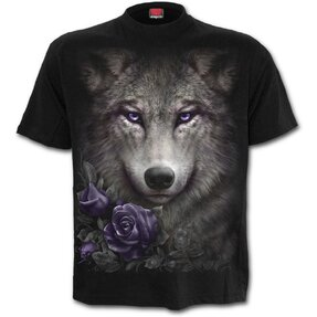 T-shirt with Design Wolf Roses