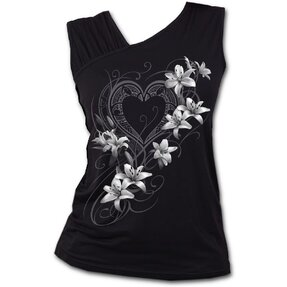 Ladies' Tank Top with Frilled Shoulders and Design White Flowers