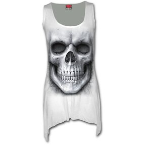 Mini Dress white with design White Skull
