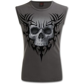 Men's Tank Top Grey with Design White Skull