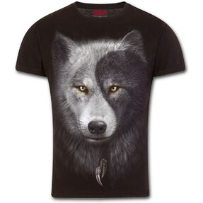 Slim Fit T-shirt with Design Wolf Face