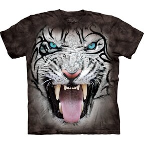 Black T-shirt with Short Sleeve White Tiger