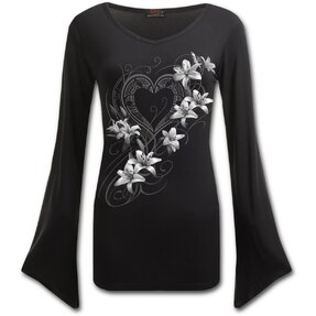Ladies' T-shirt with Design White Flowers