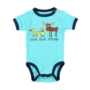 Funny Blue Kids' Bodysuit Ducks and Moose
