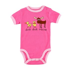 Funny Pink Kids' Bodysuit Ducks and Moose