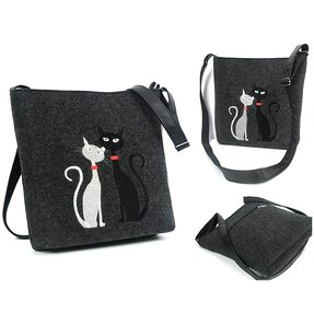 Messenger Antracit Handbag - Black and White Cat