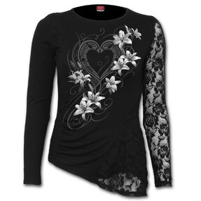 Ladies' Lace T-shirt White Flowers
