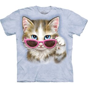Kids' T-shirt with Short Sleeve Cat with Glasses