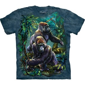 Kids' T-shirt with Short Sleeve Gorillas in Jungle