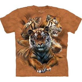 Kids' T-shirt with Short Sleeve Tiger Collage