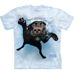 Adult T-shirt Playful Dog under Water Labrador - blue