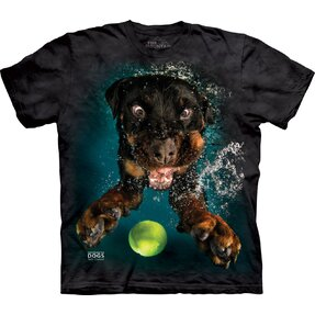 Adult T-shirt Playful Dog under Water Rottweiler - black