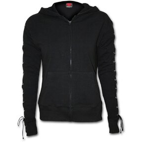 Ladies' Sweatshirt with Lacing Black
