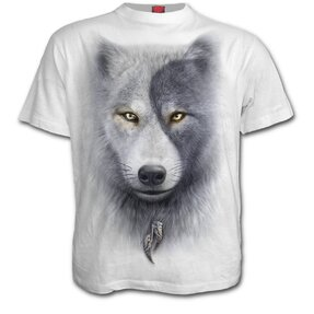 T-shirt white with design Wolf Face