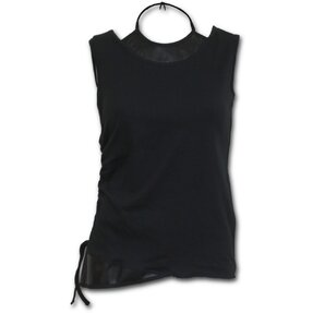 2in1 Neck Tie Mesh Top Black Basic