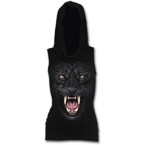 Ladies' Tank Top with Hoodie and design Angry Panther