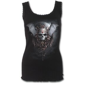 Ladies' T-shirt with Lace Hem and design Vampire Night