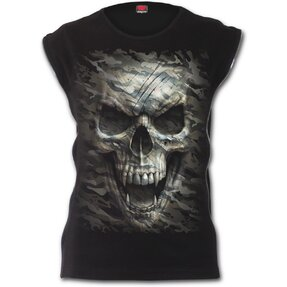 Ladies' Zip T-shirt with design Vampire Skull
