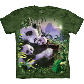 Kids' T-shirt with Short Sleeve Panda Family