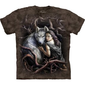 T-shirt with Short Sleeve Forest Fairy and Wolf