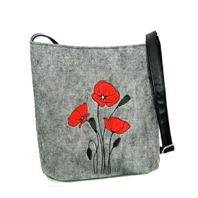 Messenger Handbag - Red Poppies