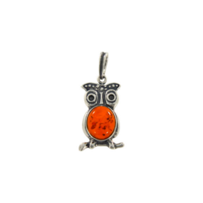 Silver Amber Pendant Owl