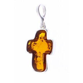 Silver Amber Pendant Oval Cross